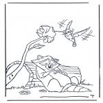 Disegni da colorare Animali - Procione e colibri