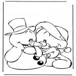 Personaggi di fumetti - Pupazzo di neve con orsetto