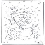Disegni da colorare Inverno - Pupazzo di neve e coniglietti