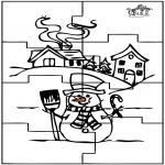 Lavori manuali - Puzzle pupazzo di neve