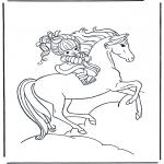 Disegni da colorare Animali - Ragazza a cavallo