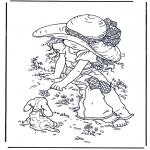 Disegni da colorare Vari temi - Ragazza con cagnolino