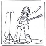 Disegni da colorare Vari temi - Ragazza con chitarra