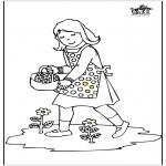 Disegni per i piccini - Ragazza con fiori