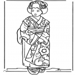 Disegni da colorare Vari temi - Ragazza giapponese