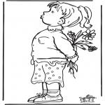 Disegni per i piccini - Ragazzina con i fiori