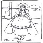Disegni da colorare Vari temi - Ragazzina con mulino