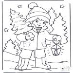 Disegni da colorare Inverno - Ragazzina e albero