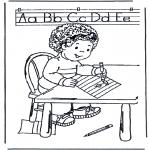 Disegni per i piccini - Ragazzino impara a scrivere