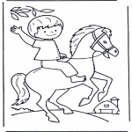 Disegni da colorare Animali - Ragazzo a cavallo