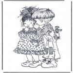 Disegni da colorare Vari temi - Ragazzo e ragazza