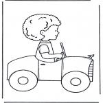 Disegni da colorare Vari temi - Ragazzo in macchina