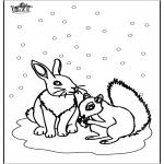 Disegni da colorare Inverno - Scoiattolo e Coniglio