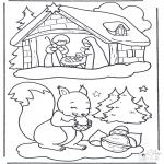 Disegni da colorare Inverno - Scoiattolo nella neve