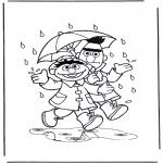 Disegni per i piccini - Sotto la pioggia