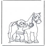 Disegni da colorare Animali - Spazzola il cavallo