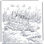 Disegni da colorare Animali - Tartaruga con elfi