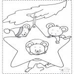 Disegni da colorare  Animali - Topi nella stella natalizia
