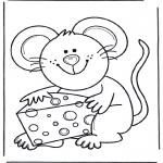 Disegni da colorare Animali - Topo con formaggio