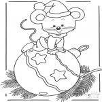 Disegni da colorare Inverno - Topo sulla pallina di Natale