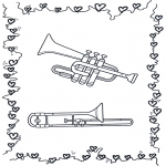 Disegni da colorare Vari temi - Tromba e trombone
