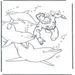 Disegni da colorare Animali - Tuffo con i delfini