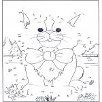 Lavori manuali - Unisci i puntini - gatto 1
