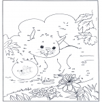 Lavori manuali - Unisci i puntini - gatto 3