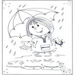 Lavori manuali - Unisci i puntini - ombrello